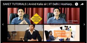 SAKET TUTORIALS | Arvind Kalia sir | IIT Delhi | Hoshiarpur